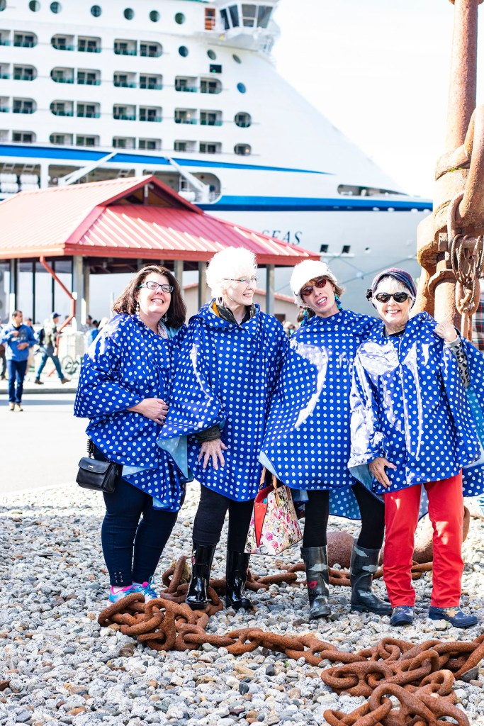 Alaska shore excursions in Juneau in our rain ponchos