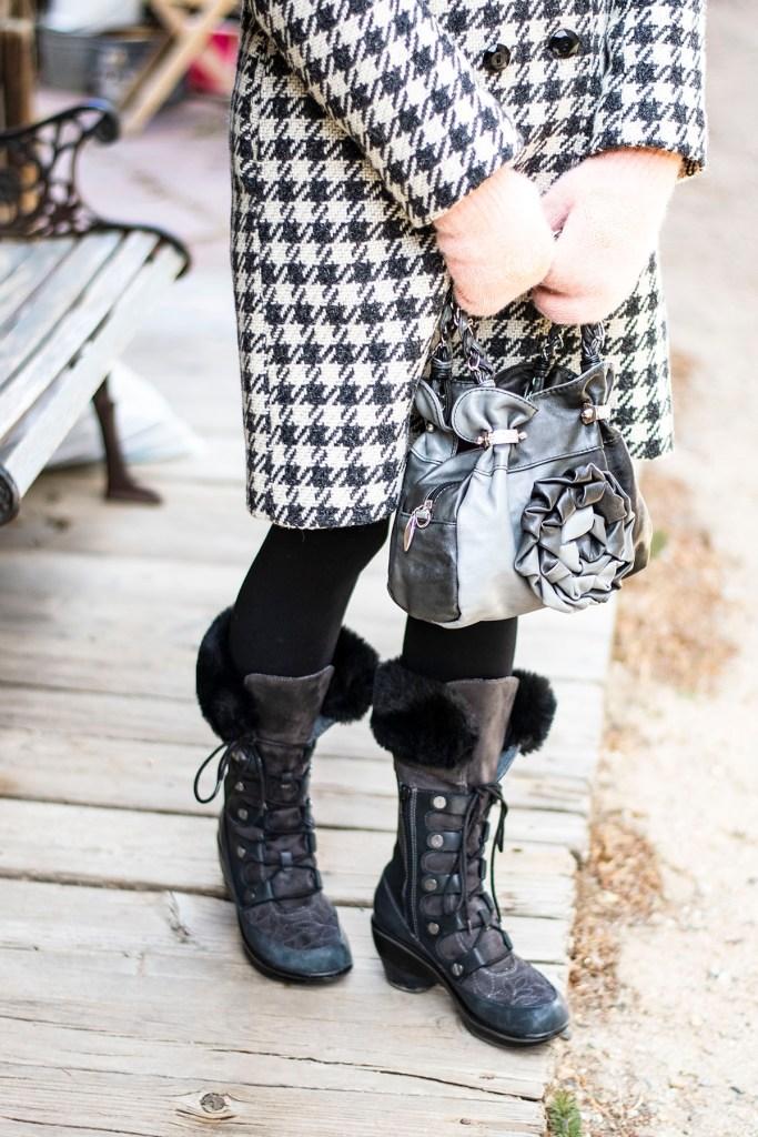 Stylish winter wool coats with Jambu boots