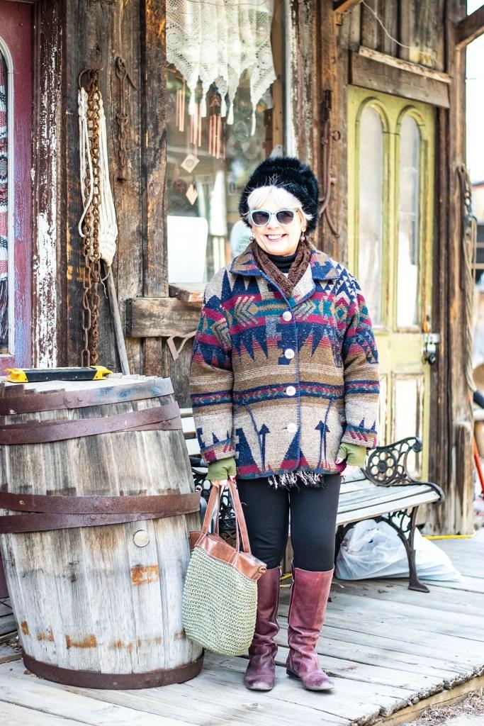 Stylish winter wool coats in a print
