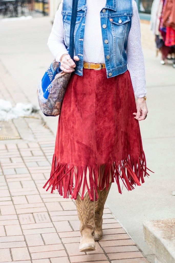 Wearing country western attire with a DIY fringe skirt