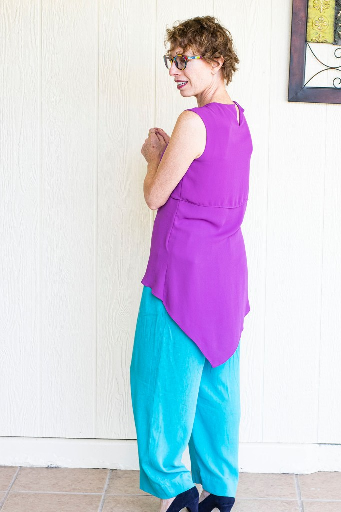 Interesting top even with wide leg pants for curvy shapes