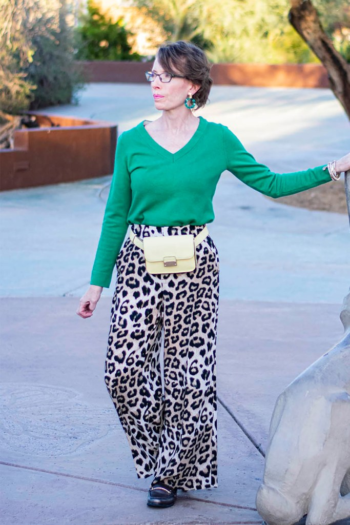 Bright green with a print