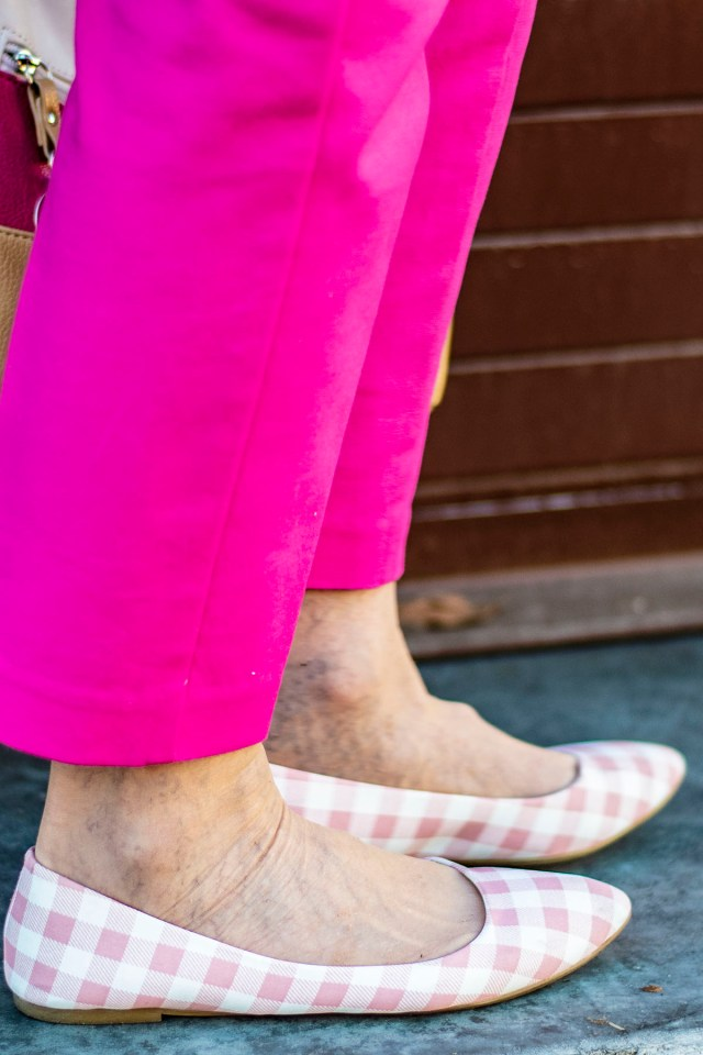 Pink gingham shoes