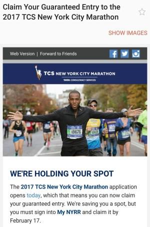 2017 New York City Marathon - Guaranteed Entry