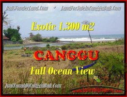 JUAL TANAH MURAH di CANGGU BALI 1.300 m2  View sawah dan laut lingkungan villa