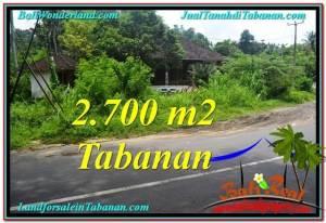 JUAL TANAH MURAH di TABANAN 2,700 m2  View kebun dan sungai
