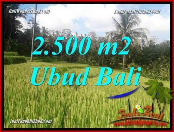 JUAL Murah Tanah di Ubud 2,500 m2  View sawah, lingkungan Villa