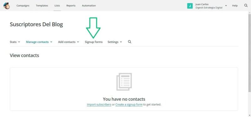 crear un formulario de contacto usando mailchimp