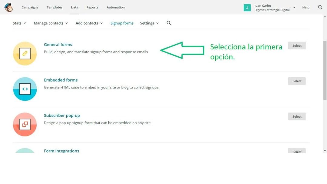 seleccionar general forms en mailchimp