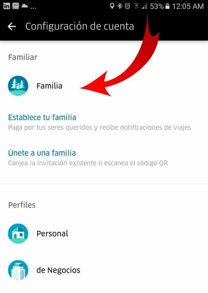 perfil familia de uber