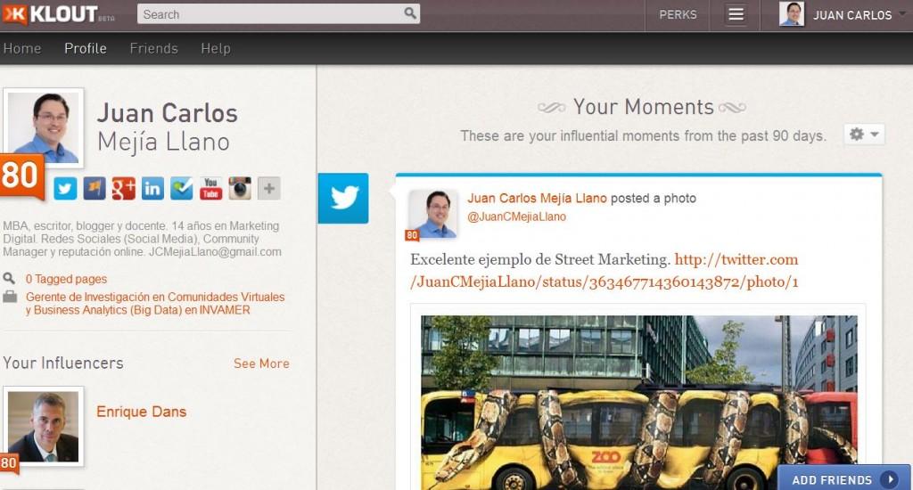 Klout de Juan Carlos Mejia Llano 1024x550 Estrategias probadas para crecer en Twitter: historia de cómo llegué a 300.000 seguidores y 80/100 de Klout