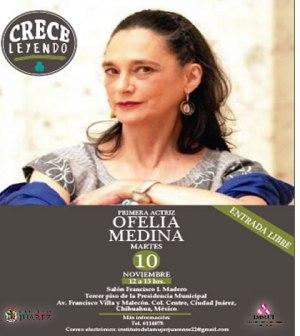 Se Presenta Mañana Ofelia Medina en Crece Leyendo