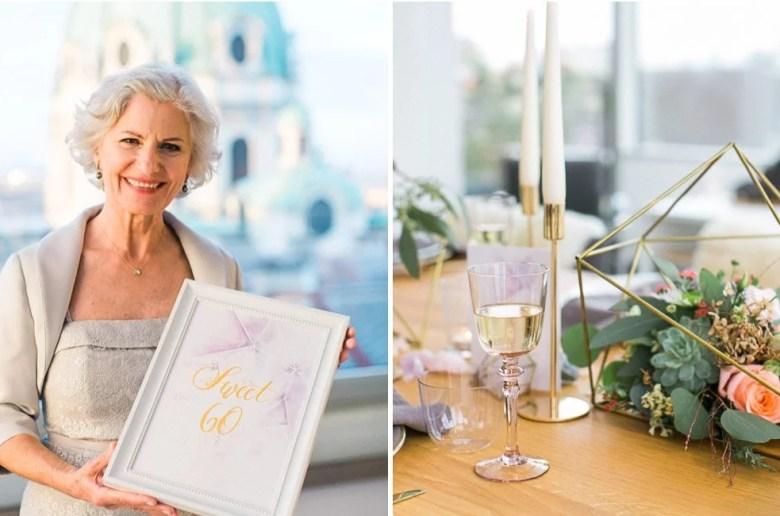 60. Geburtstag mit wunderschöner Deko und Torte über den Dächern von Wien