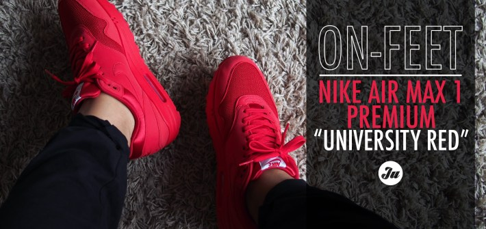 "[On-feet video] Air Max 1 Premium in ""University Red"" from the Tonal Pack"