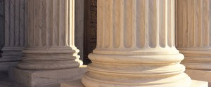 Columns outside a courthouse.