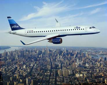 Image result for Jet blue plane over new york