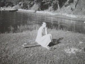 Mother at lake