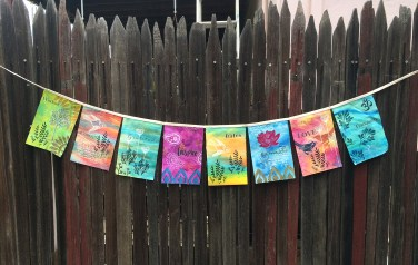 Mixed-media Prayer Flags