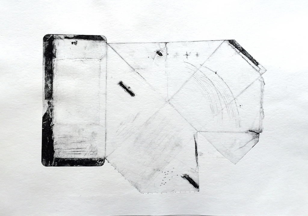 Wrapped: collagraph monotype with drypoint