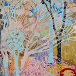 Hot Day At Barkers Creek, 1000 X 700 Mm, Acrylic And Collage On Paper, 2010