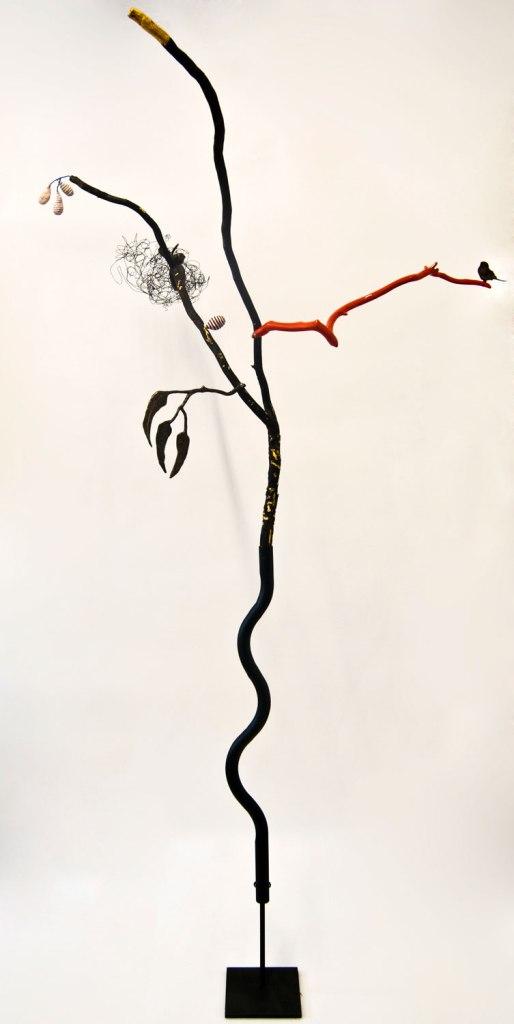 Goldfields, 1600 x 600 x 100mm, Burnt found stick, goldleaf, 2PAC enamel, cement fondue, caste bronze bird, painted bird, magnets, 2015