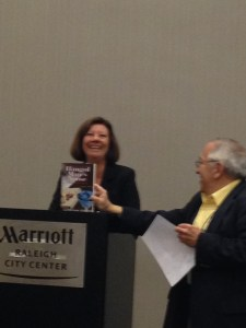 Sharing a laugh at the podium with Les Blatt at the Debut Authors Breakfast.