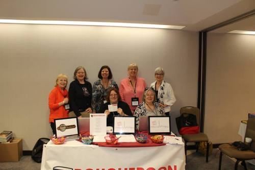 Crime Writers of Canada Unite! Back Row L to R: Mary Jane Maffini, Robin Harlick, Judy Penz Sheluk, Vicki Delany, Linda Wiken (aka Erica Chase). Front Row L to R: Janet Costello, Helen Nelson.