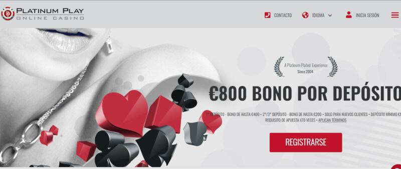 Casino Online Platinum Chile Play 800 euros de bono por depósito