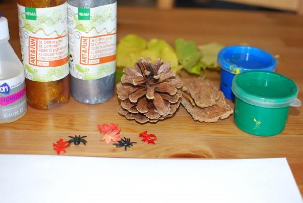 Benodigdheden stempelen herfst materialen