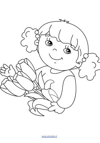 Kleurplaat moederdag meisje bloemen