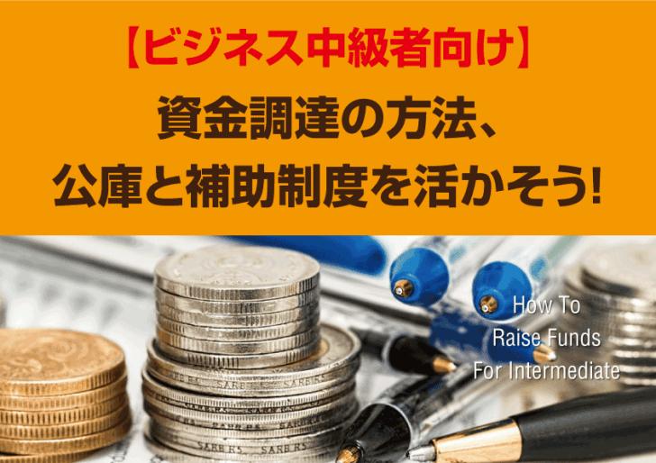 【ビジネス中級者向け】資金調達の方法、公庫と補助制度を活かそう!