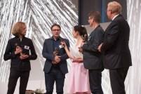 Preisträger Bilderbuch: Anton van Hertbruggen (links), Edward van de Vendel (2. von links), Rolf Erdorf (2. von rechts) || © Foto: Ulf Cronenberg, Würzburg