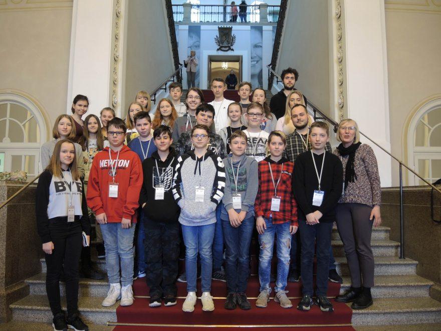 Gruppe Jugendlicher, fotografiert im Bayerischen Landtag