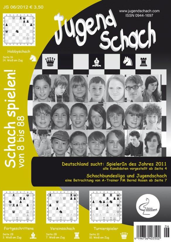 """Titelseite der Juni-Ausgabe von JugendSchach mit allen Kandidaten für die Wahl """"SpielerIn des Jahres 2011"""""""