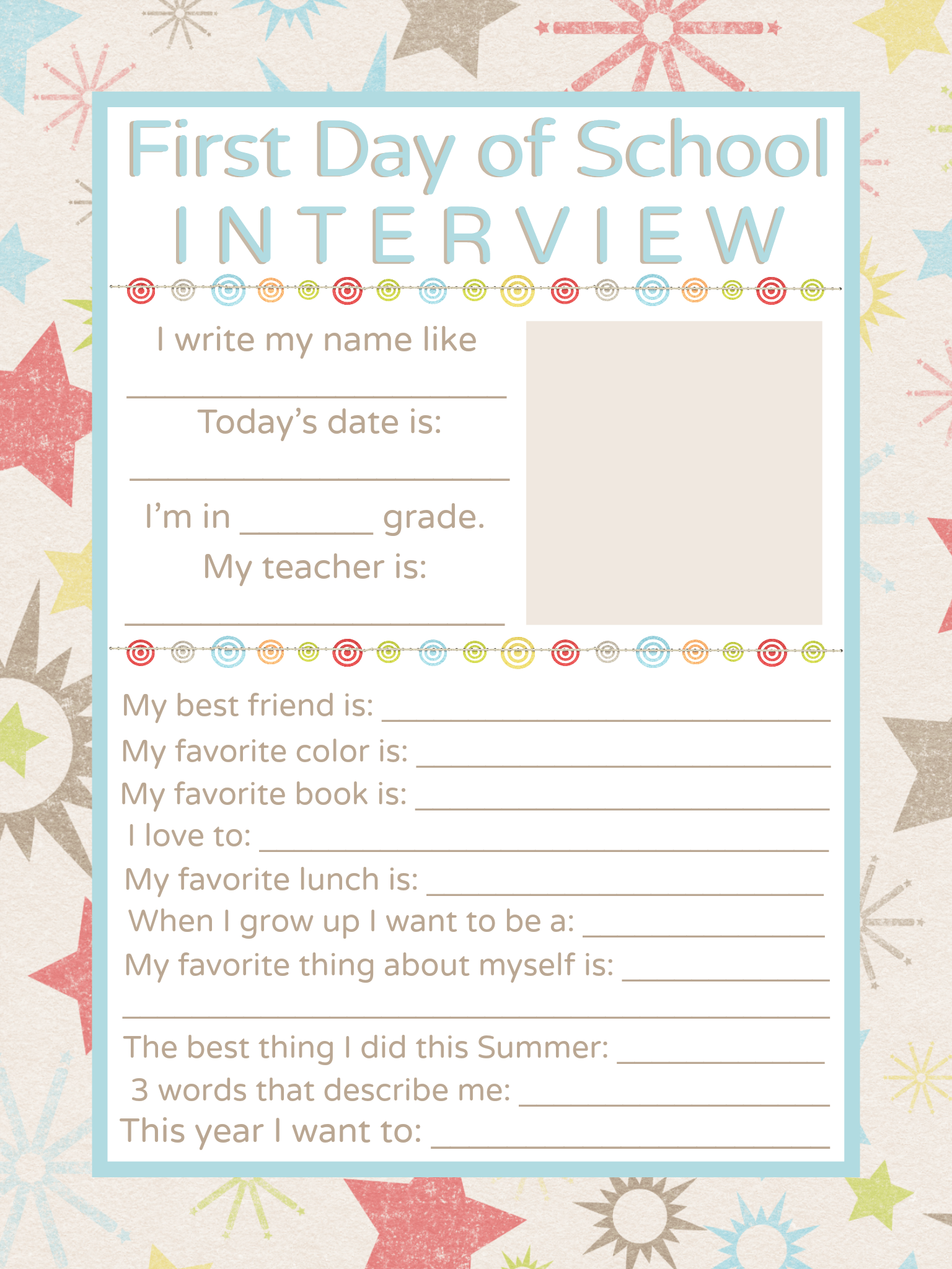 First Day Of School Interview Printable