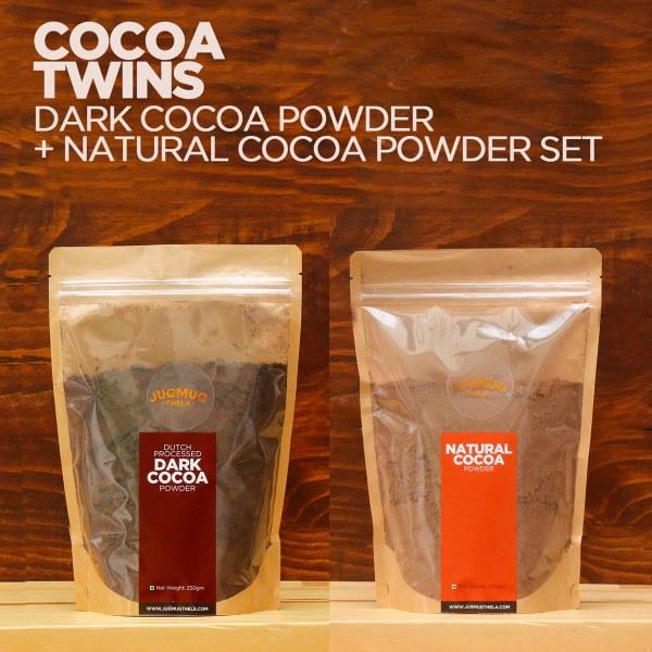 set of two cocoa powders - natural and dark - by jugmug thela