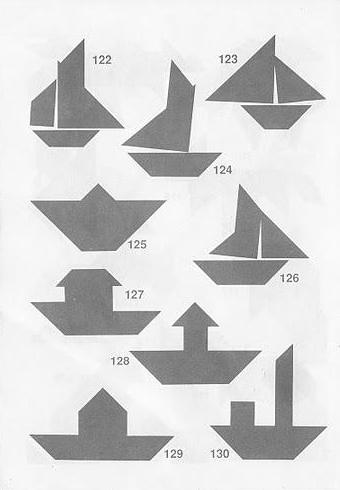 Siluetas barcos Tangram con soluciones
