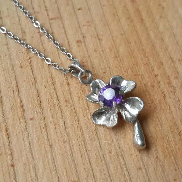 紫彩鑽幸運草│銀飾項鍊