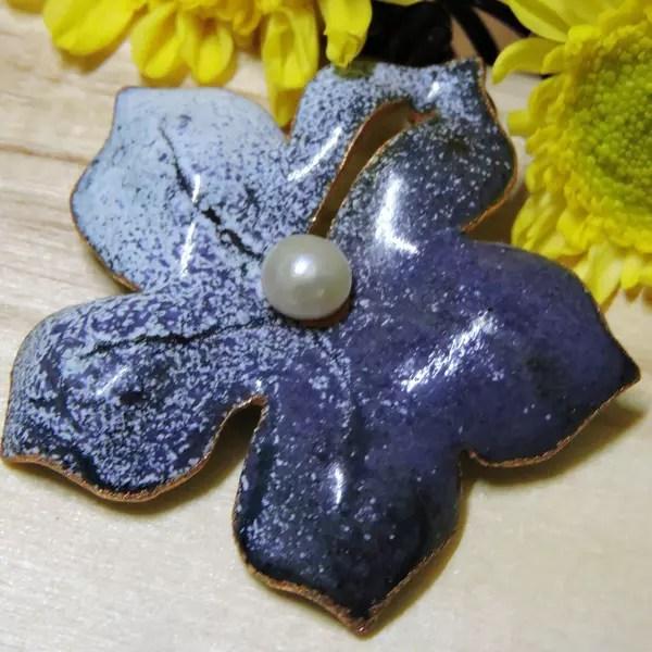 珍珠紫色花項鍊<琺瑯/七寶燒>