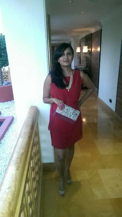 Scarlet Dress: Femella Maroon Ikat Clutch: Fab India Meenakari Necklace: Jaipur Pink Agate Ring: Bespoke by Sweta Parikh Nude Peeptoes: Charles & Keith