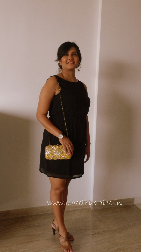 Dress: ONLY India Ear-rings: Amrapali Clutch: Lovetobag Watch: Guess Tan Sandals: Hush Puppies