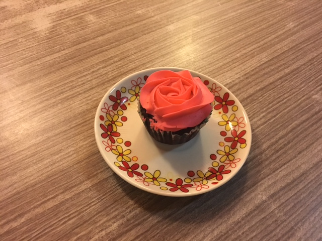 So, Iy is our dessert order-er and she chose this absolutely gorgeous chocolate cupcake with italian buttecream frosting- she never goes wrong!