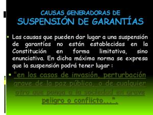 Suspensión de Garantías
