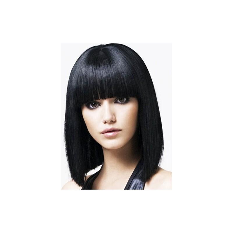 Human Remy Hair Capless Wig Full Bangs Black Hair