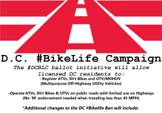 For Immediate Release: #DCBLC Seeks to Ask D.C. Voters to Legalize ATVs, Dirt Bikes & UTVs