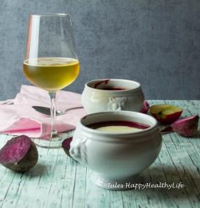 vegan beetroot soup with apple horseraddish froth - Jules HappyHealthyLife glutenfreier Food Blog