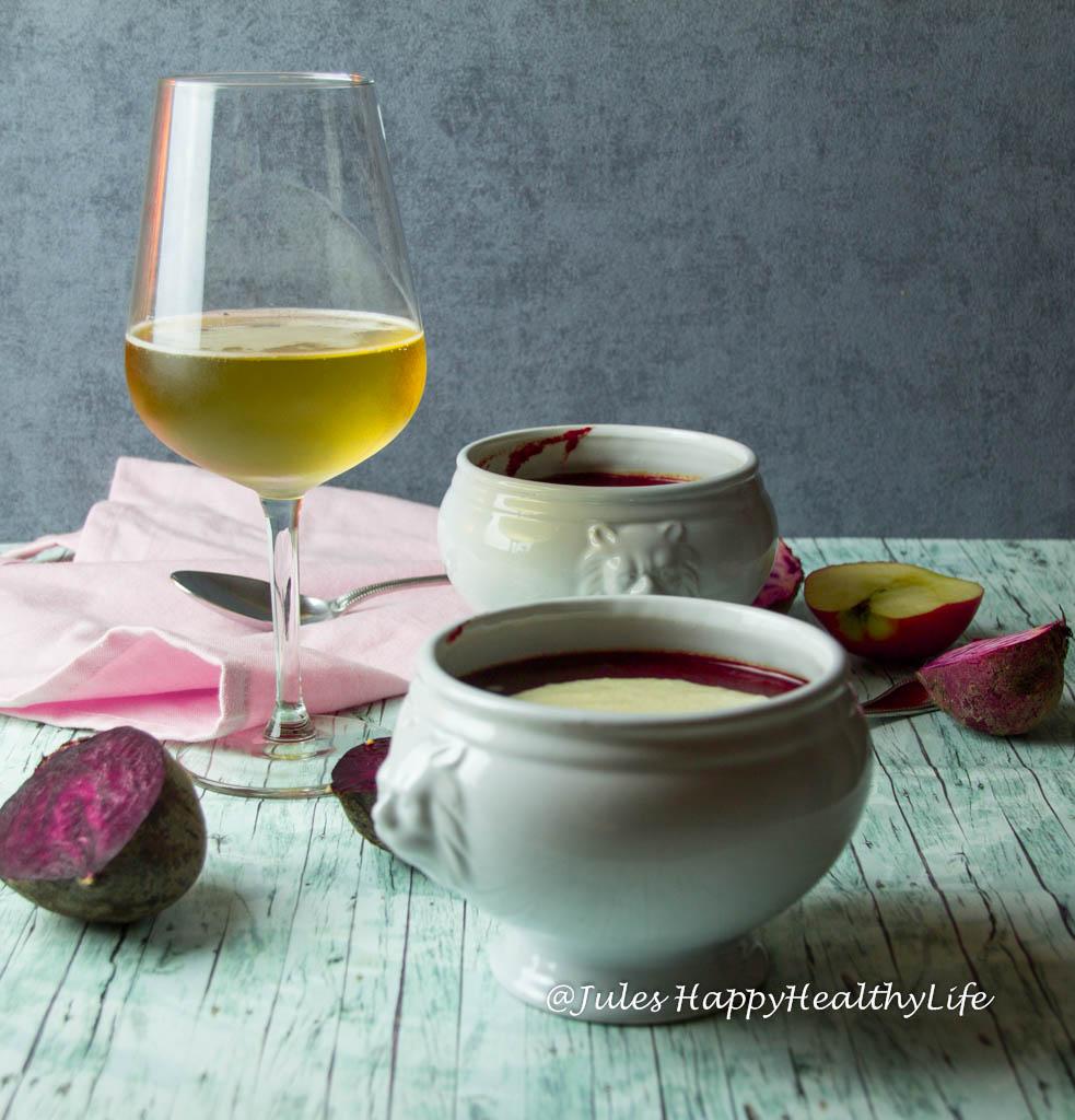 vegane Rote Bete Suppe mit Meerrettich Apfelschaum - Jules HappyHealthyLife glutenfreier Food Blog