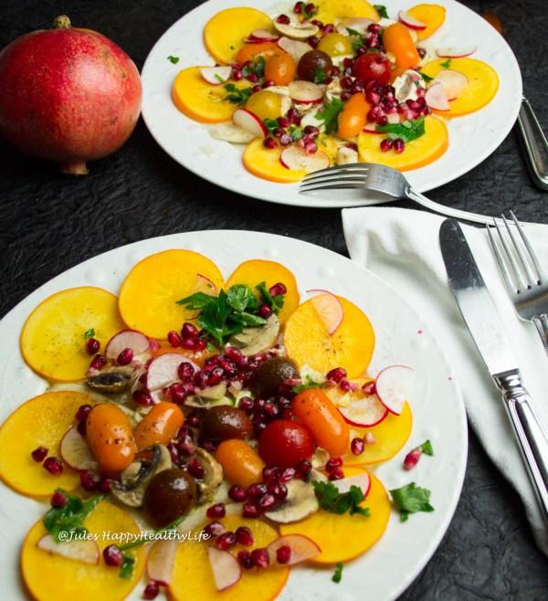 Veganer, glutenfreier Fenchel, Kaki, Granatapfel Salat