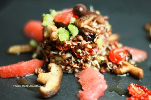 Salat mit gekeimten Linsen vegan und glutenfrei