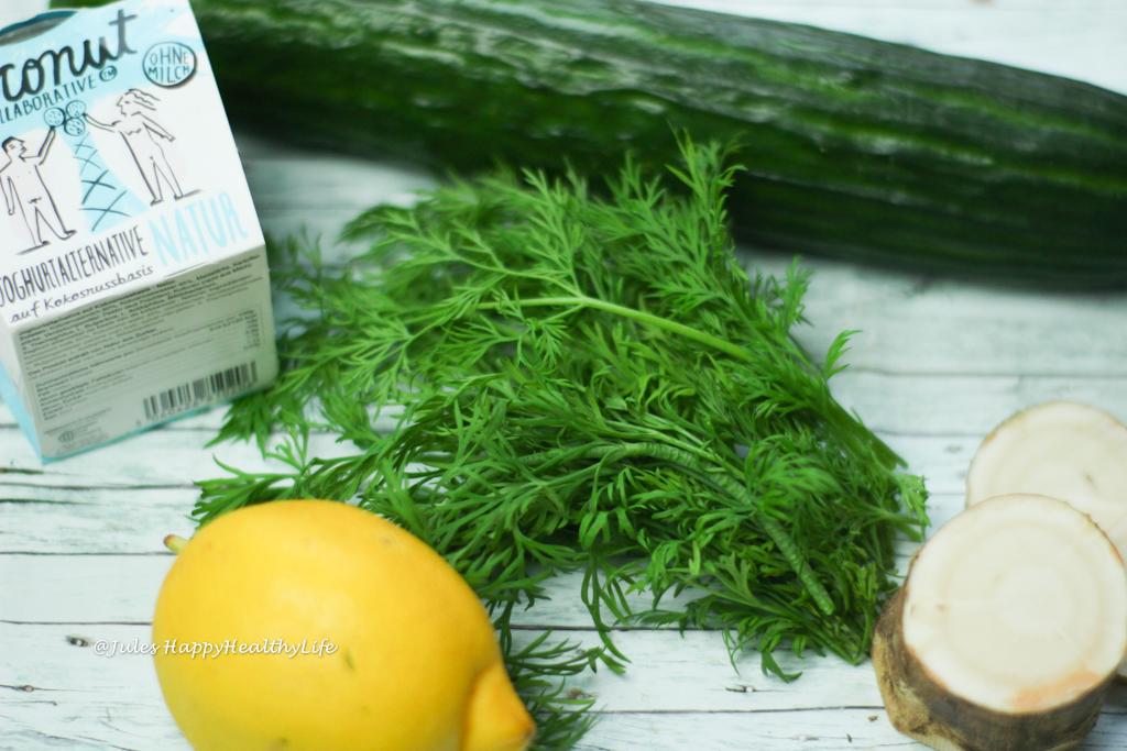 Meerrettich Gurken Dill Salat ist vegan und glutenfrei